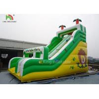 Yellow / Green Coconut Tree Blow Up Dry Slide Cold - Resistant And Durable Manufactures