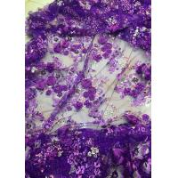 Luxury Guipure 3D Flower Lace Fabric For Apparel 135cm Width Purple Manufactures