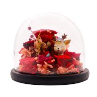 Christmas Decoration Preserved Rose Glass Dome With Christmas Reindeer Manufactures
