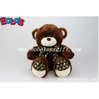 Dark Brown cute plush bear with heart printting ribbon and feet  in 3 sizes Manufactures