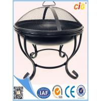 Round steel metal Patio Brazier fire pit covers with lid and 4 legs Customized Size Manufactures
