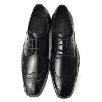 Mens Casual Leather Shoes / Mens Black Oxford Shoes Fashion Italian Style Manufactures
