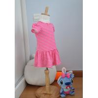 Bow Neck  Girls Pink And White Striped Dress , Young Girls Party Dresses Elastic Waist
