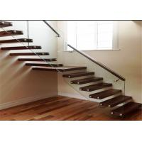 Indoor Floating Steps Staircase Led Stairs With Wood Tread , Customize Size Manufactures