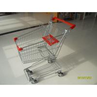 Red Supermarket Shopping Trolley , Metal Four Wheel Shopping Trolley Cart