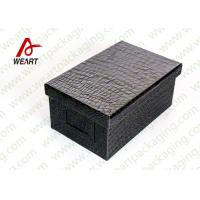 Black Leather Coated  Branded Products Cardboard Gift Boxes With Lids OEM