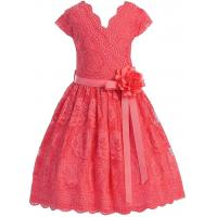 Coral V Neck Cap Sleeves Little Girls Holiday Dresses , Kids Birthday Frocks Rose Lace Flower Belt Manufactures