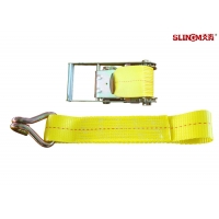 4 Inch 30 Foot Ratchet Tie Down Straps / Load Hugger Cargo Control Yellow For Motorcycle Lightweight Manufactures