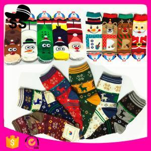 2017 HB-1001 95%Cotton 5%Spandex 30g 9-11cm Santa Claus Stock Handmade Stocking Xmas Decoration Christmas Knitting Socks Manufactures