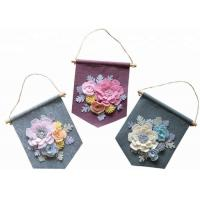 Handmade Felt Wall Hanging Banner Decorative 9.5*9.5 Inch With Flower Decor Manufactures