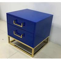 Blue paint finish brass metal base 2-drawer night stand,bedside table ,hotel bedroom furniture,hospitality casegoods Manufactures