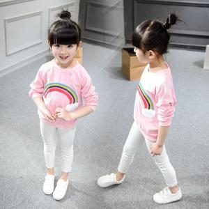 2016 Fashion Girl Korean style Kid's Rainbow Pattern Long Sleeve Cotten Sport Pinky Top