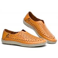 Breathable Punched Holes Mens Casual Summer Shoes , Khaki Leather Business Shoes Manufactures