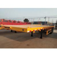 Yellow Flatbed 3 Axles Container Semi Trailer Truck Carrying Heavy Equipment Manufactures