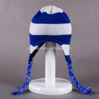 2017 fashion jacquard decorate for girls 100%Polyester 33*20cm winter knitting plain dyed color Peruvian earflap Hats Manufactures