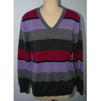 China V Neck Pure Merino Wool Stripe Men Knit Sweater Pullover  Classic Fitting Spinning 2/28nm Yarn on sale