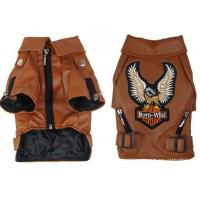 China Big Small Personalized Pet Dog Clothes Leather Jacket Brown , Black Color For Winter on sale