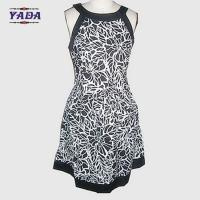 New fashion round neck sleeveless flower printed casual dresses brand pretty women knitted dress in cheap price Manufactures