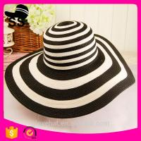 2017 new style TB-1032 100%polyester large wide brim visor summer beach black white outdoor vacation paper straw hats Manufactures