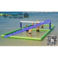 Green Beach Volleyball Field / Outdoor Floating Inflatable Volleyball Court Manufactures