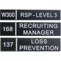 "Straight Edge Wayfinding Signage 2 By 9 Inch 1/32"" White Raised Text Black Background Manufactures"