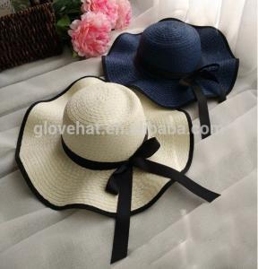 trim d35cm 100%polyester inner Dia 20cm summer women cheap straw sun hats for sale Manufactures