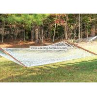 Soft Spun Polyester Single Person White Rope Hammock  With Solid Hardwood Spreader Bars Manufactures