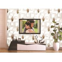 Cheap 3D Moisture-Proof Non-Woven Wallpaper With Basket Of Flowers And Square Printings for sale