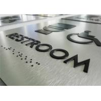 "Brushed ACM ADA Braille Restroom Signs Rounded Corner 1/32"" Raised Text Pictogram Manufactures"