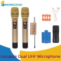 China 2 Pieces Pair Wireless Handheld KTV Singing Microphone for Voice Amplification Presentation UHF Transmitter and Receiver on sale