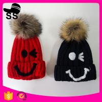 109g 20*24cm New brand 2017 acrylic knitted beanie with pom pom ball winter knitting hats Manufactures