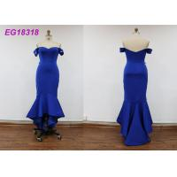 China Off Shoulder Blue Ladies Evening Dresses Casual Lace 100% Polyester Satin Fiber on sale