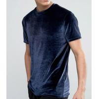 Soft Touch Blank Mens Velour T Shirt / Anti Pilling Oversized Blue T Shirt Manufactures