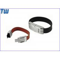 Cheap Solid Leather Bracelet 4GB USB Memory Drive Personalized Branding for sale