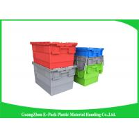 Nestable heavy duty plastic storage containers with attached lids stackable