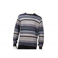 China Wool Mens Knit Sweater Round Neck Pullover Winter Men Sweater In Striped Pattern on sale