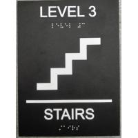 """Tactile Text 6""""X8"""" ADA Stair Signs , Black Interior ADA Signs Grade II Braille Straight  Edge Manufactures"""