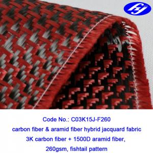 High Tensile Strength  Red Carbon Fiber Kevlar Hybrid With Jacquard Fishtail Pattern Manufactures