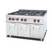 Stainless Steel 5.8kW Six Burner Gas Stove Kitchen Equipment Manufactures