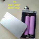 New popular T8 box mod 150w chip e Ecigarette fit ego ce4 510 Atomizer Double