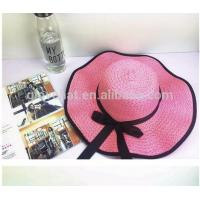 2017 best price direct manufactuer with satin buttlefly natural grass D35CM women cheap summber straw hats Manufactures
