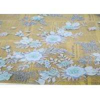 Quality Embroidery 3D Floral Wedding Dress Lace Fabric By The Yard With Beads Light Blue for sale