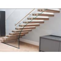 Buy cheap Luxury Modern Style Floating Timber Stairs Humanized Design , No Support from wholesalers