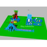 Children Big Dragon Inflatable Water Parks With Blue Water Pool Colorful Strong Manufactures