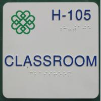 "Direct Print Logo ADA Braille Signs , 6""X6"" Classroom Thermoformed Signs Rounded Corner Manufactures"