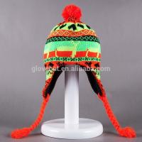 2017 New Crochet Lovely Deer Jacquard Style 20*30cm107g 100%Polyester Winter Knitting Woman Earflap Hats 100%polyester Manufactures