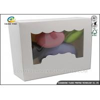 China Simple Design Food Packing Boxes Foldable Macarons Food Boxes With Clear Window on sale