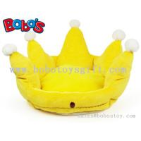 Yellow Color Plush King Crown Style Pet Bed Puppy Dog Sofa Manufactures