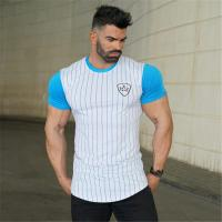 New Design Men's GYM Wear Dry Fit Excercise Trainning Short Sleeve T Shirt with Printed Manufactures