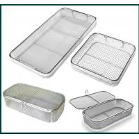 Medical Grade Stainless Steel Mesh Tray With Drop Handles For Washing Or Sterilization